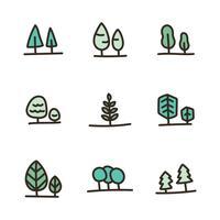 Umrissene mutige doodled Bäume vektor