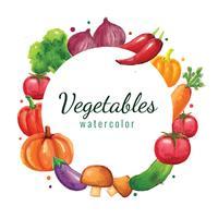 Grönsaker Akvarell Bakgrundsram vektor
