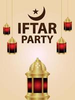 iftar fest firande affisch med vektorillustration av lykta och arabisk måne vektor