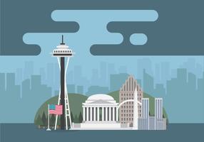 Markierungs-Karte Vereinigter Staaten mit berühmtem Gebäude oder amerikanischem Stadt-Symbol vektor