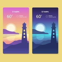 Väder App Skärm Vector