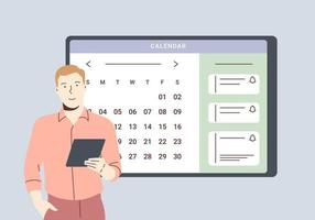 Planungsplan und Online-Kalenderkonzept. Geschäftsmann, der Tagesplanungstermin in der Kalenderanwendung plant. Mann fügt Ereignis hinzu und trifft Erinnerungen in der Planungs-App. vektor