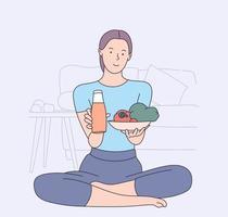 Gesundheit, vegan, Essen, Kochkonzept. Zeichentrickfigur der jungen Frau. vegetarisches Halten Serviertablett mit frischem Obst und Gemüse. vektor