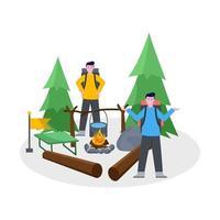 flache Vektorillustration des Bergsteigercampings mit seinem Partner vektor