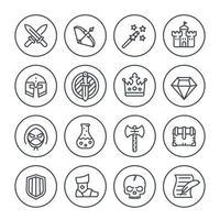 Spielliniensymbole gesetzt, RPG, Fantasie, Ritter, Zauberstab, Bogen, Burg, Helm, Rüstung und Trank vektor