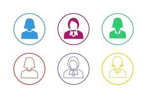 färgglad affärskvinna ikonuppsättning vektor