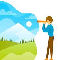 Flacher Mann, der in den Ferngläsern mit Steigungshintergrund-Vektorillustration schaut