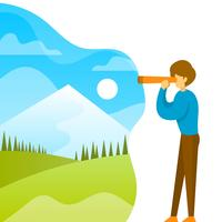 Platt man tittar i kikare med gradient bakgrund vektor illustration