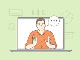 E-Learning-, Webinar- und Online-Bildungskonzept. Headshot-Porträt-Bildschirmansicht eines lächelnden jungen Geschäftsmannes, der zu Hause sitzt und auf einem Videoanruf mit einem Freund oder einer Verwandten spricht vektor