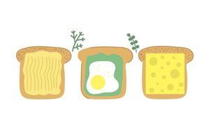 Hand gezeichnete Scheibe Brot leckeren Toast mit Butter Spiegelei Avocado und Käse moderne flache Illustration Frühstückskonzept vektor