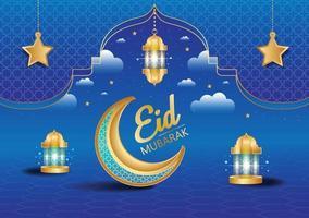eid mubarak bakgrund eller banner design islamisk redigerbar bakgrund vektor
