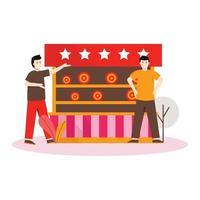 flache Vektorillustration von Leuten, die in einer Zirkusshow spielen vektor