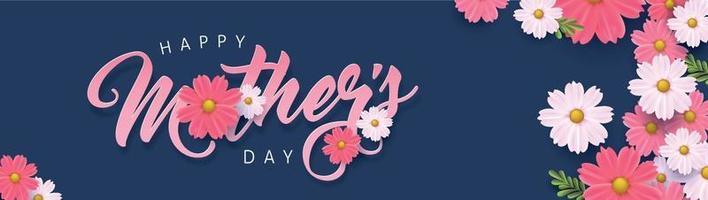 Muttertag Banner Hintergrund Layout mit Blume. Grüße und Geschenke für Muttertag in Flat Lay Styling. Vektor Illustration Vorlage.