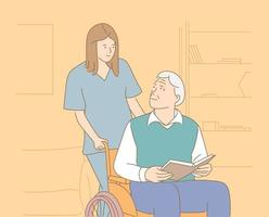 Pflegeheim, Krankenhaus, Hospiz, Rehabilitationskonzept. lächelnde weibliche Krankenschwester, die Rollstuhl mit lächelndem älteren Mann schiebt vektor