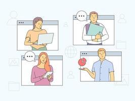 Online-Meeting-, virtuelle Konferenz- und Videoanrufkonzept. Menschen Partner treffen Mitglieder, die an Online-Geschäftstreffen und Fernverhandlungen teilnehmen vektor