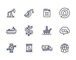petroleumsindustri, bensin, bensin, olja och gas produktion, linje ikoner set vektor