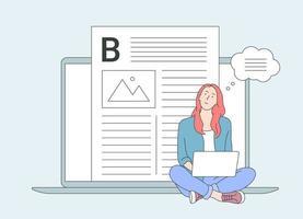 Berufe, Blogging, Vlogging-Konzept. süßes Mädchen mit Laptop studieren, im Internet surfen, soziale Medien, bloggen. vektor