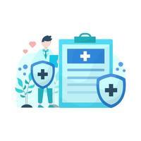 Vektor-Illustration von Menschen, die die Bedeutung der Krankenversicherung und ihrer Dienstleistungen erklären Vektor-Illustration geeignet für Landingpage UI-Website mobile App redaktionelle Poster Flyer Artikel und Banner vektor
