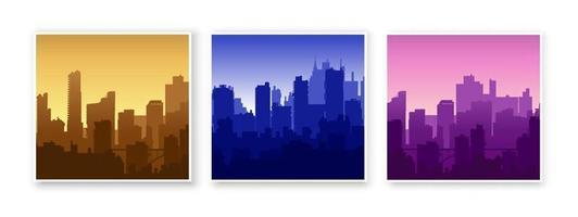 Silhouette der Stadtstruktur Innenstadt moderne moderne Straße der Architektur mit einem Gebäude, Turm, Wolkenkratzer. Stadtbild-Skyline-Landschaftshintergrund für Geschäftskonzeptillustration vektor