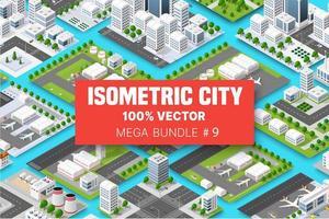 isometrisk uppsättning terminalflygtransport av blockmodul av områden i stadskonstruktionen, och utformning av perspektivstaden design av stadsmiljön vektor