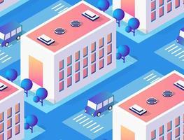 Architekturvektorillustrationsstadt für nahtlos wiederholenden Hintergrund mit isometrischem Wolkenkratzer, Stadtgebäude und modernem Stadtbild für Stadtbaukartenmuster vektor
