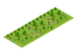 isometrische 3D-Projektion der Stadtviertelpark-Draufsichtlandschaft mit Menschen und Bäumen vektor