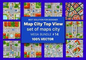 Karte Stadt Draufsicht Set Architektur Design Häuser Gebäude Transport von Blöcken Modul von Bereichen des Stadtbaus und Gestaltung der Planwohnung des Geschäfts der städtischen Umgebung vektor