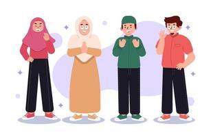 grupp av muslimsk karaktär vektor