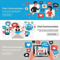 elektronische Chat-Nachrichten horizontale Banner Vektor-Illustration vektor