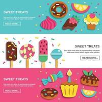 Süßigkeiten Süßigkeiten flache horizontale Banner Vektor-Illustration vektor