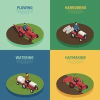 landwirtschaftliche Maschinen 4 isometrische Symbole Vektor-Illustration vektor