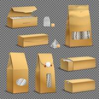 Teeverpackungssatz realistische transparente Vektorillustration vektor
