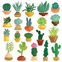 kaktus suckulenter i krukor som vektorillustration vektor