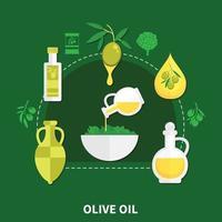 flache Zusammensetzung Vektorillustration des Olivenöls vektor