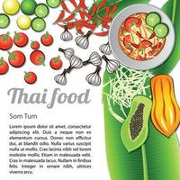 thailändsk läcker och berömd mat papayasallad som tum och ingrediens med isolerad vit bakgrund vektor