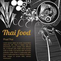 isolierte thailändische Speisekarte phad thai vektor