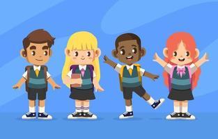 bereit zur Schule mit vier süßen Freunden vektor