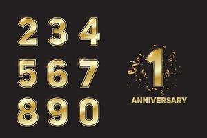 10 Jahre Jubiläumsfeier goldene Nummer 10 mit funkelnden Konfetti vektor
