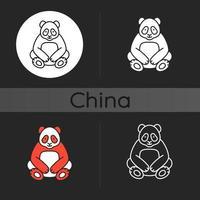 stor panda mörk tema ikon vektor