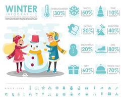 Winterinfografik mit Kinder- und Schneemannvektorentwurf vektor