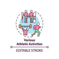 olika atletiska aktiviteter koncept ikon vektor