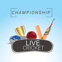 Live-Cricket-Meisterschafts-Grußkarte mit kreativen Cricket-Elementen vektor