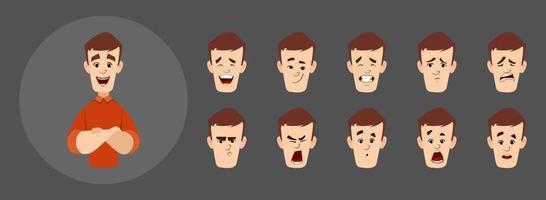stilig mankaraktär med olika ansiktsuttryck. vektor