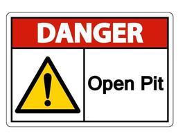 Gefahr Open Pit Symbol Zeichen auf weißem Hintergrund vektor