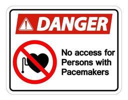 Gefahr kein Zugang für Personen mit Herzschrittmachersymbol auf weißem Hintergrund vektor