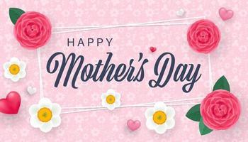 Muttertagsgrußkarte mit schönen Rosen und Narzissenblumen und kleinen 3D-Herzen. Vektor isolierte Illustration
