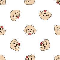 vektor tecknad karaktär söt golden retriever valp hund sömlösa mönster