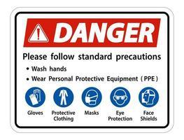 Gefahr bitte Standardvorkehrungen befolgen Hände waschen persönliche Schutzausrüstung tragen ppe Handschuhe Schutzkleidung Masken Augenschutz Gesichtsschutz vektor
