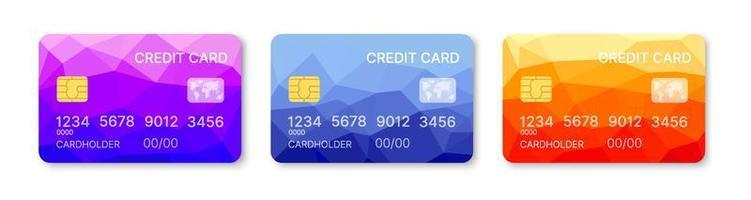 Kreditkarten setzen mehrfarbigen Schablonenvektor mit geometrischem Designhintergrund des abstrakten Dreiecks mit Musterhintergrund. konzeptionelle Geschäftsillustration mit Schnittmaske vektor