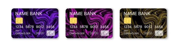 Kreditkarten setzen mehrfarbigen Schablonenvektor mit abstraktem flüssigem fließendem Sprühdesignhintergrund mit Musterhintergrund. konzeptionelle Geschäftsillustration mit Schnittmaske vektor